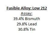 Fuseable Alloy: Low 212 Melting Point